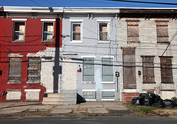 Poor Inner City Neighborhood Ghetto in Camden, New Jersey run down stock pictures, royalty-free photos & images