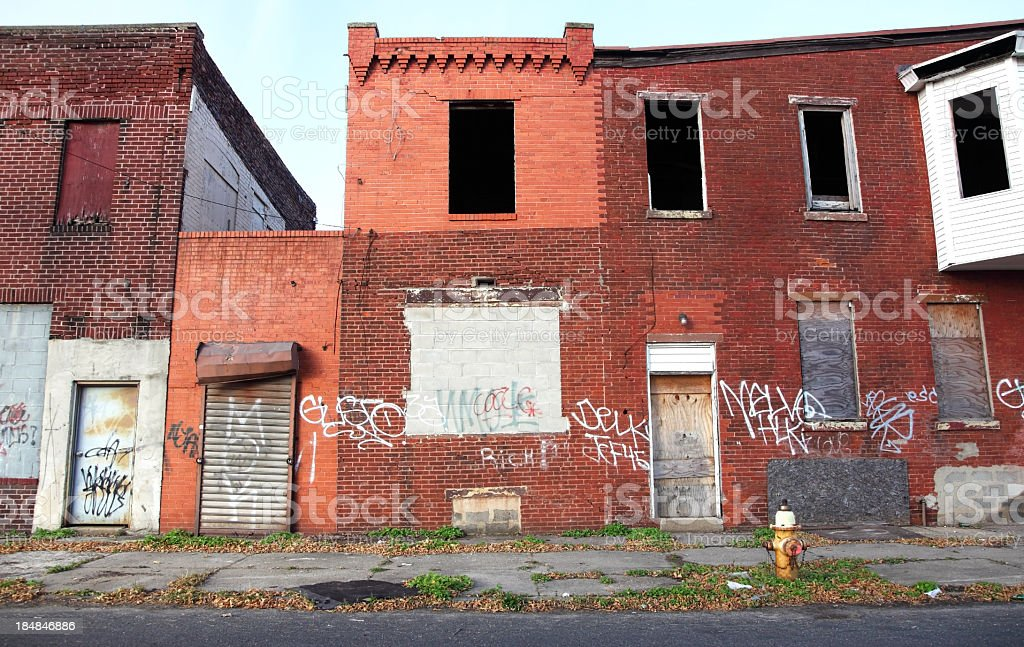 Poor Inner City Neighborhood stock photo