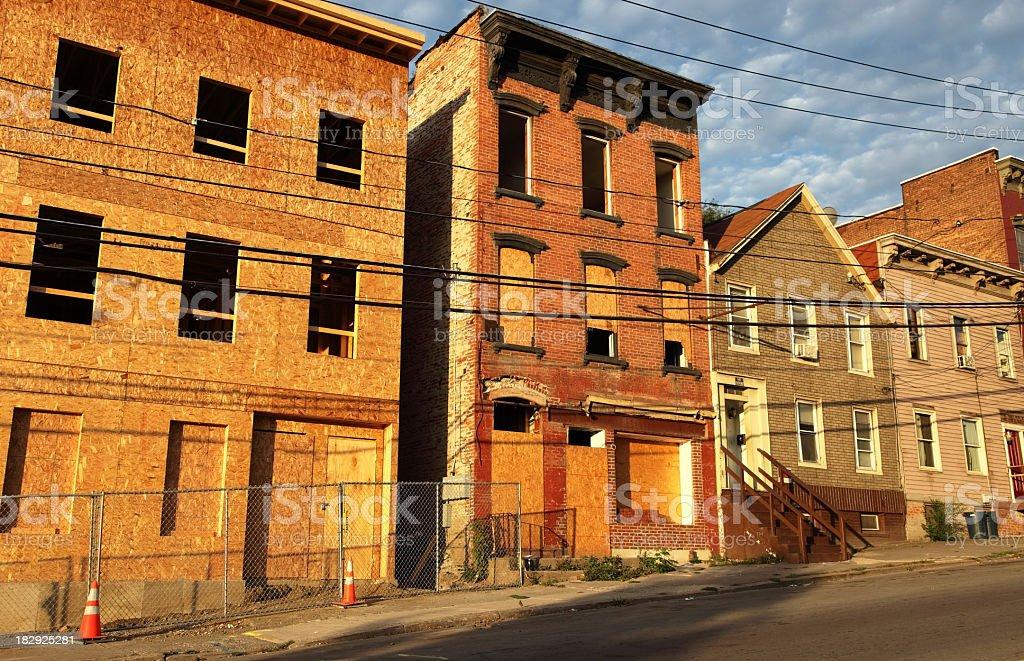 Poor Inner City Nieghborhood stock photo