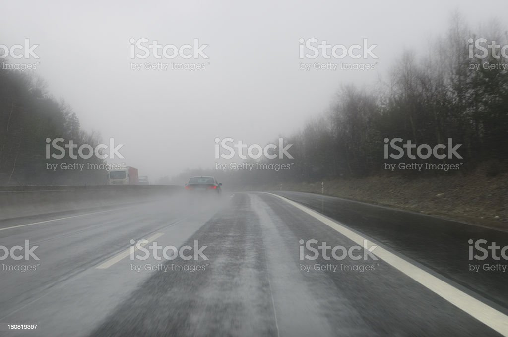Poor visibility on a German motorway royalty-free stock photo