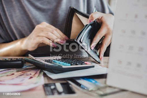 istock poor woman hand open empty purse looking for money for credit card debt 1138345809
