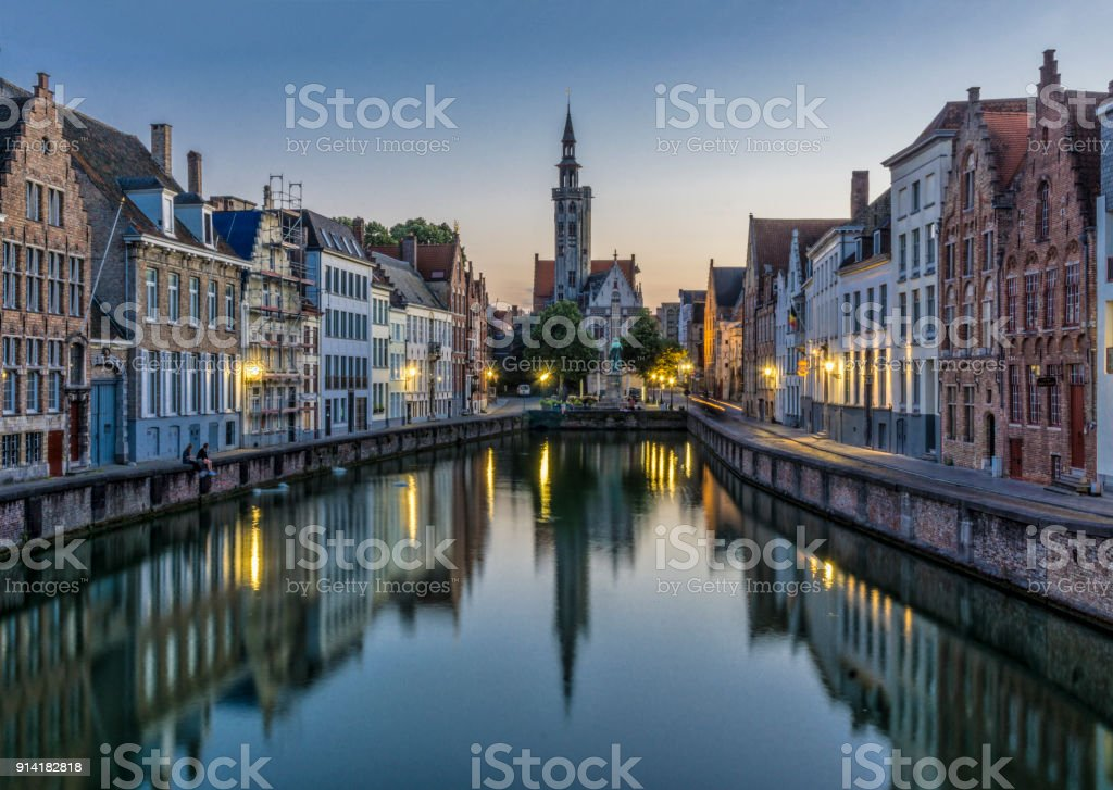Poortersloge  and Jan van Eyckplein , Brugge, Belgium stock photo
