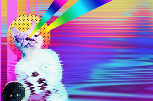 istock Pop art astronaut cat collage 1133366616