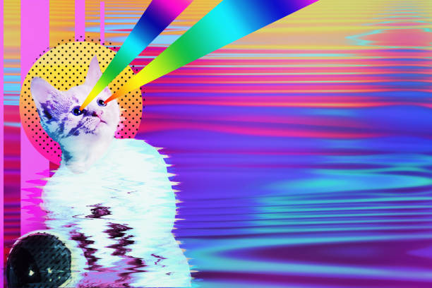 pop art astronaut cat collage - pop art stock photos and pictures