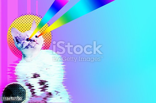 istock Pop art astronaut cat collage 1134107730