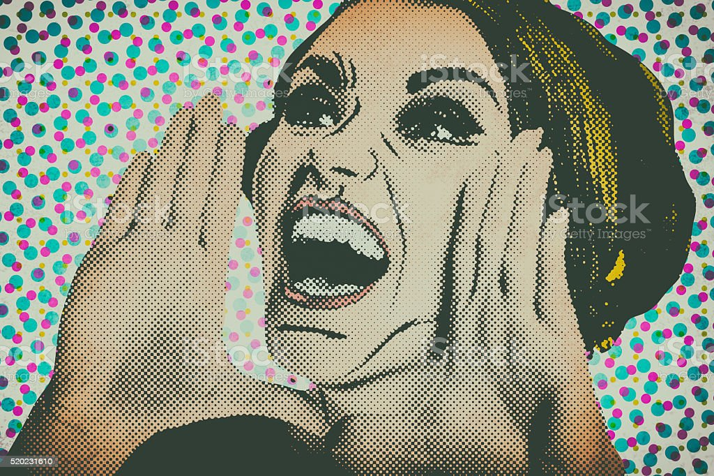 Pop art comic style woman, retro poster stock photo