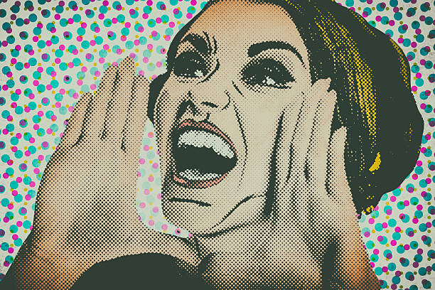 pop art comic style woman, retro poster - pop art stock photos and pictures