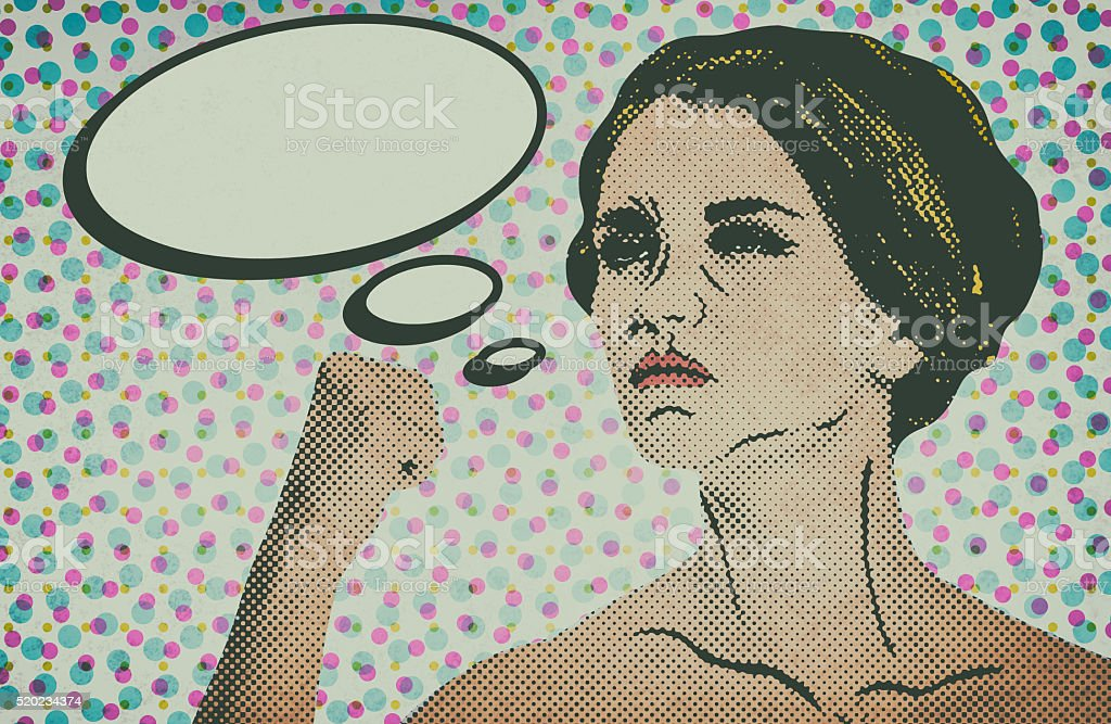 Pop art comic style woman with speech bubble stock photo