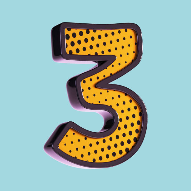 pop art font. number 3. - number 3 stock photos and pictures