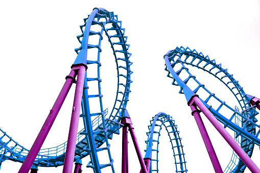 Pop art roller coaster isolated on white background