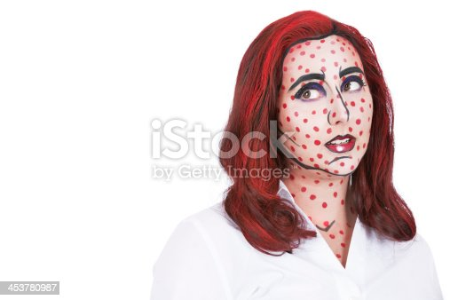172214590 istock photo Pop Art: young woman in a stylized comic book makeup 453780987