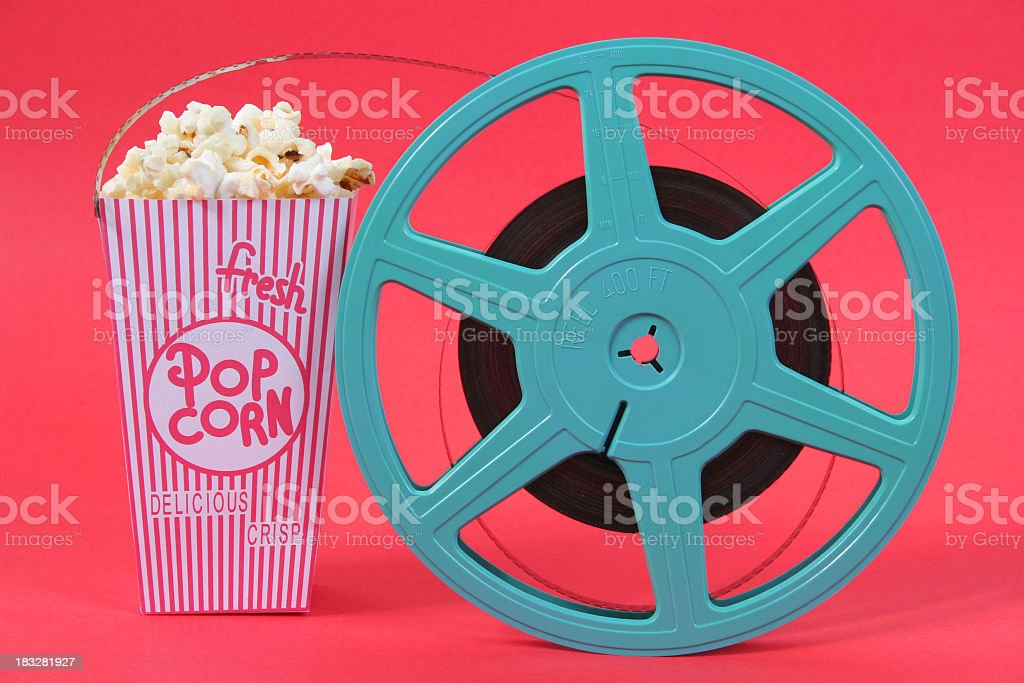 Pop Corn and film reel royalty-free stock photo