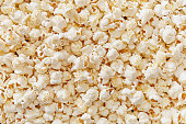 Pop corn full frame detailed view\n from above. Top view.