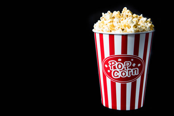 pop corn in bucket stock photo