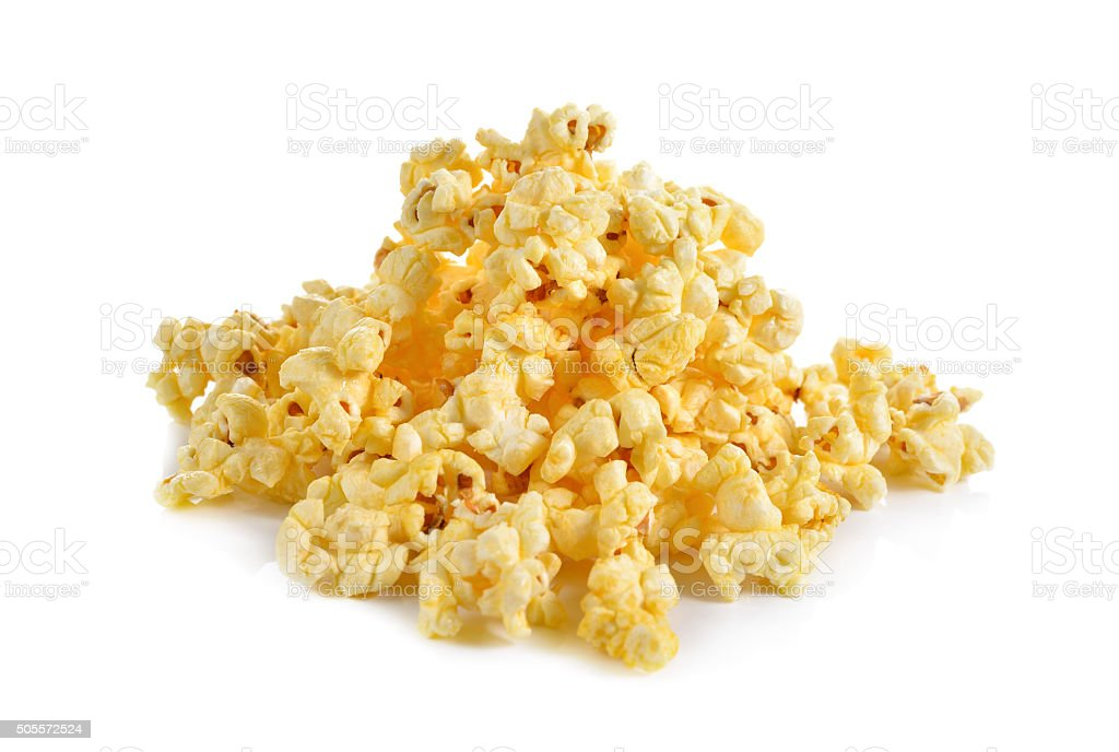 pop corn with butter flavoured on white background stock photo