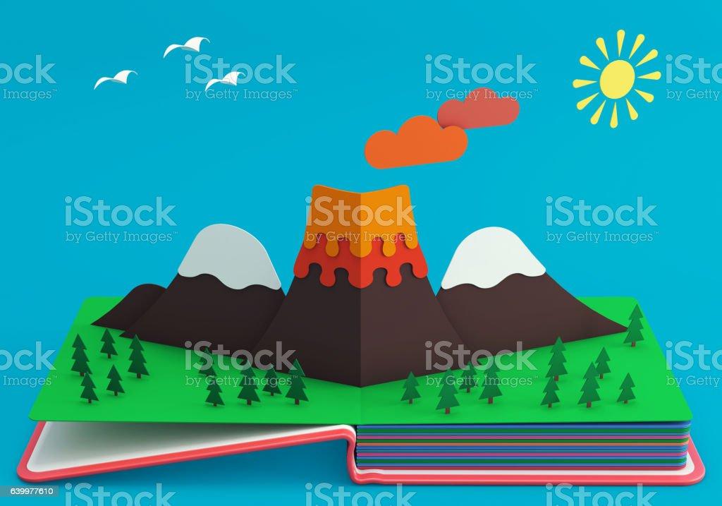 Pop Up Book With Mountainous Landscape And Active Volcano stock photo