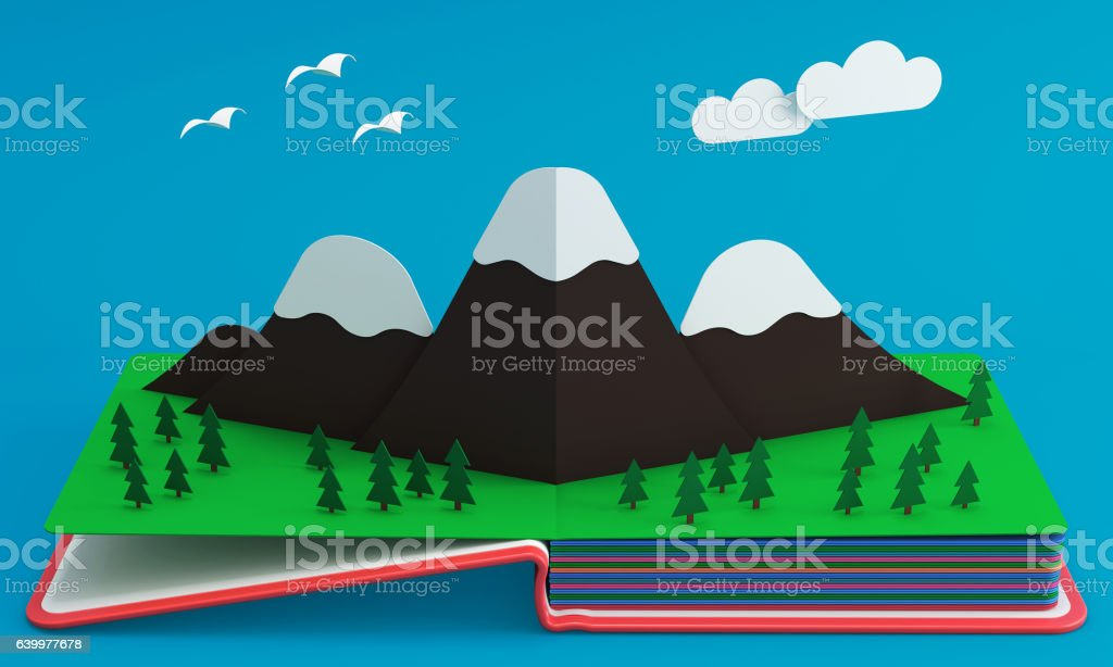 Pop Up Book With Mountainous Landscape stock photo