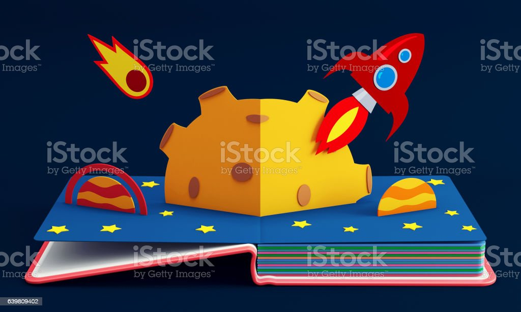 Pop Up Book With Rocket In Space stock photo