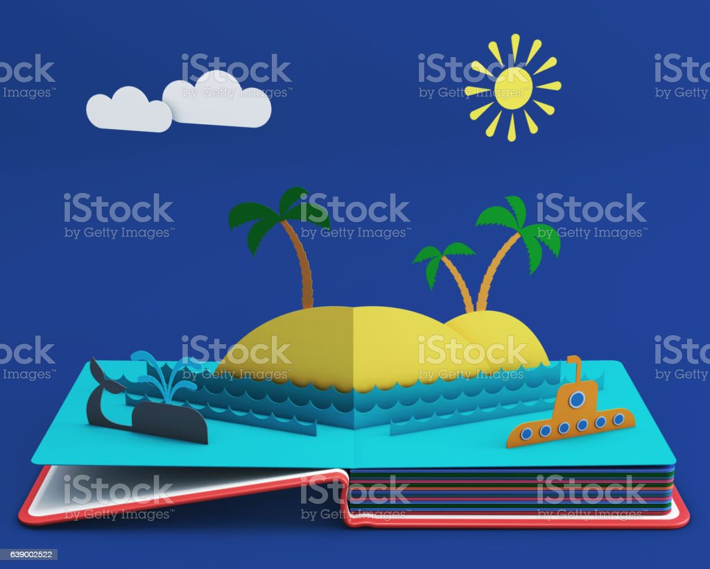 Pop Up Book With Tropical Island In Ocean stock photo