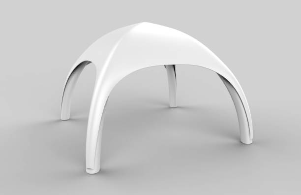 Pop Up Dome Spider Inflatable Advertising Arch White Blank Tent. 3d render illustration. Pop Up Dome Spider Inflatable Advertising Arch White Blank Tent. entertainment tent stock pictures, royalty-free photos & images
