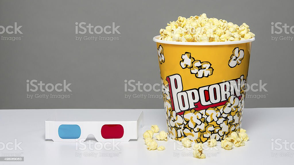 Popcorn and 3d glasses stock photo