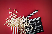 popcorn, red, background, clapperboard