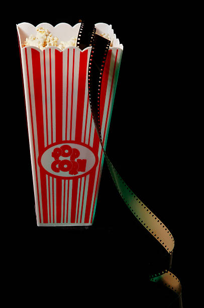 popcorn and film stock photo