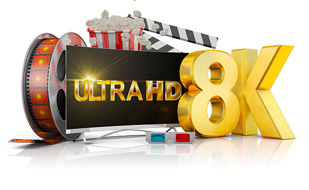 8K TV, popcorn and film – Foto