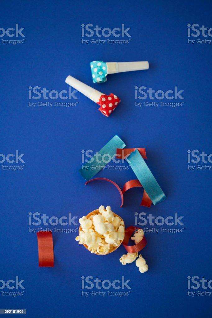 Popcorn and party decor stock photo