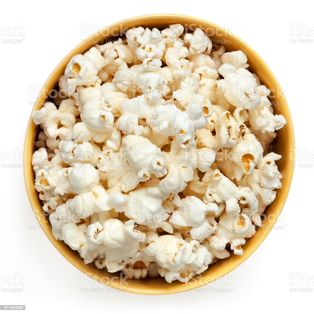 Popcorn Bowl Isolated Top View stock photo