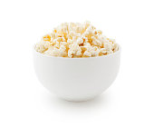 Popcorn bowl isolated on white - clipping path included (excluding the shadow)