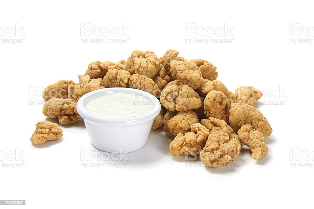 Popcorn Chicken with Ranch Dressing stock photo