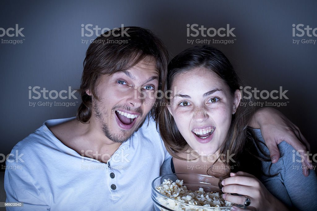 Popcorn couple royalty-free stock photo