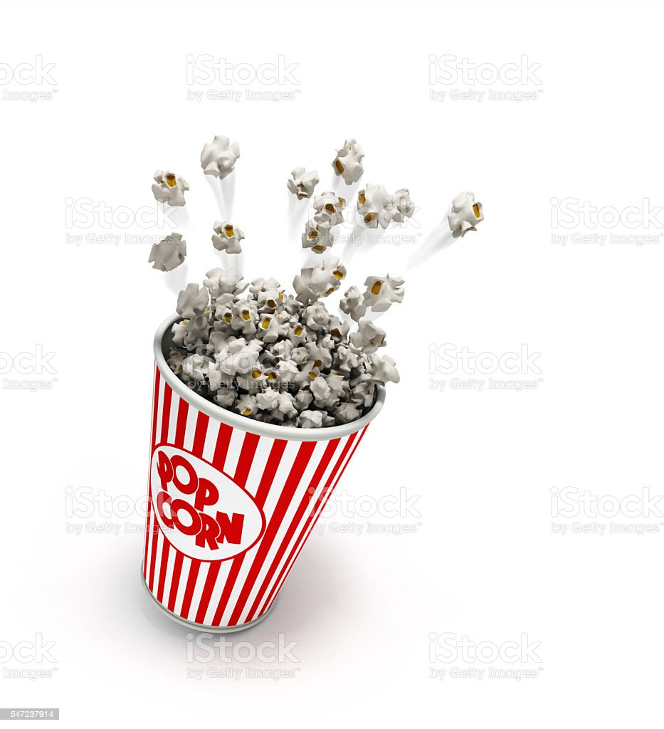 Popcorn In A Striped Red Glass Flies 3d Render Stock Photo