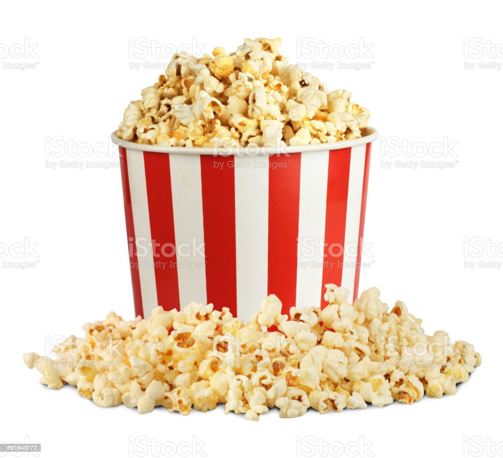 Popcorn in box with pill isolated on white, clipping path stock photo