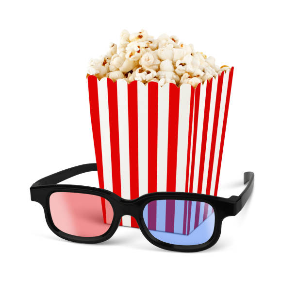 Popcorn in bucket with 3d glasses on white stock photo