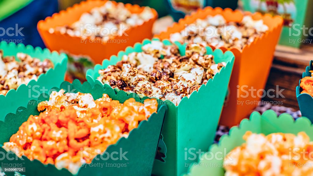 Popcorn In Candybar At A Childrens Party Stock Photo