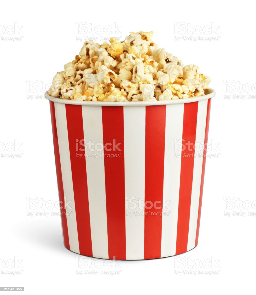 Popcorn in cardboard box isolated on white, clipping path stock photo