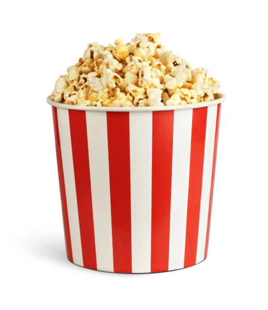 Popcorn in cardboard box isolated on white, clipping path Popcorn in cardboard box isolated on white, clipping path bucket stock pictures, royalty-free photos & images