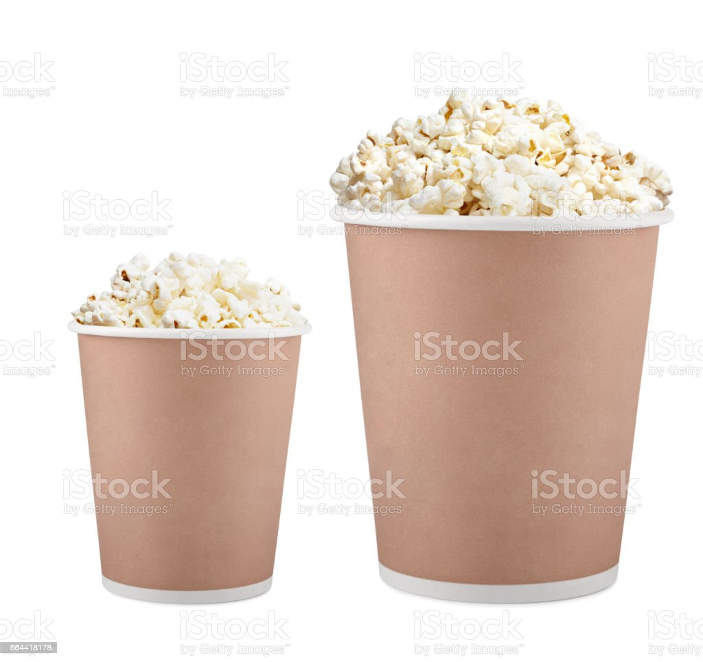 popcorn in paper cup stock photo