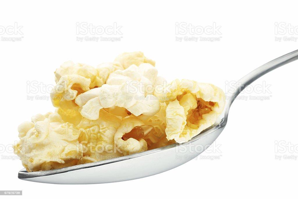 Popcorn in spoon royalty-free stock photo