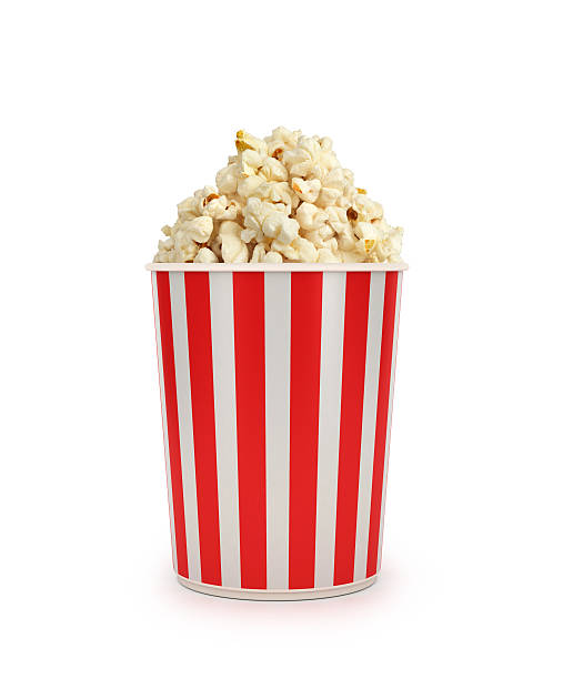 Popcorn in striped bucket stock photo