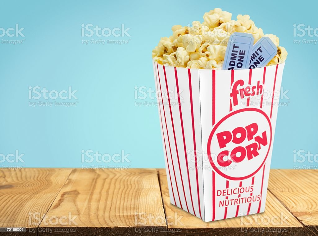 Popcorn, Movie, Movie Ticket stock photo