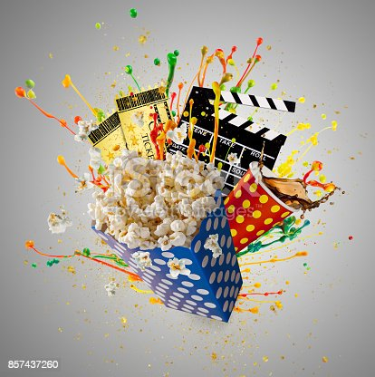 istock Pop-corn, movie tickets, clapperboard and other things in motion 857437260