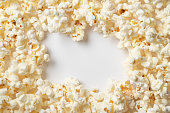 istock Popcorn on white background with empty space for text. Top view 1065099052