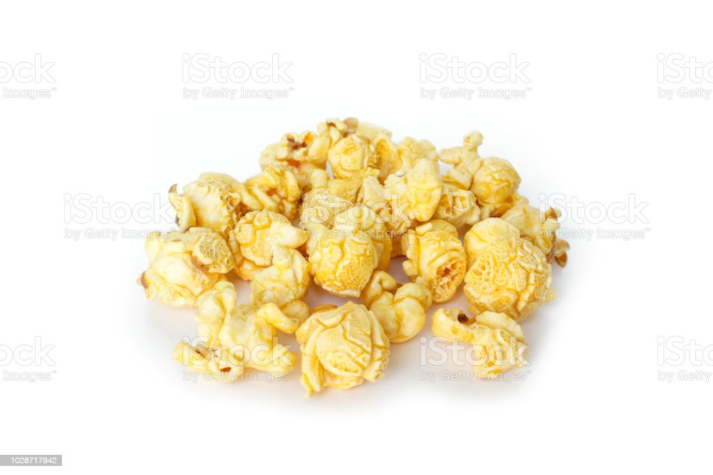 Popcorn Pile On White Background Stock Photo & More Pictures of