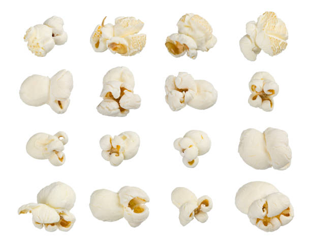 Popcorn set on white stock photo