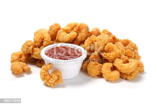 Popcorn shrimp with cocktail sauce.More of your fried favorites: