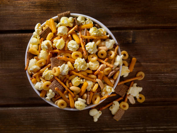 Popcorn Snack Mix stock photo