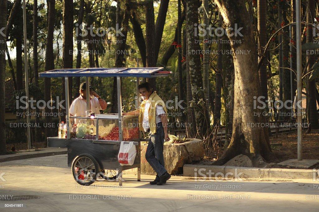 popcorn vendor stock photo